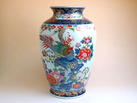 花瓶 陶器 木箱入り 贈答用 有田焼 波佐見焼 染錦春華