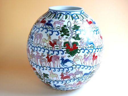 【有田焼】染錦群鹿紋 花瓶(木箱付)【あす楽対応商品】(月~土)※13時までのご注文で翌日お届けが可能です
