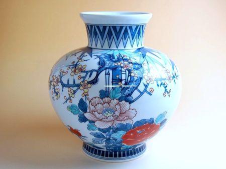 花瓶 陶器 木箱入り 贈答用 有田焼 波佐見焼 竹梅牡丹(小) かぶ花瓶
