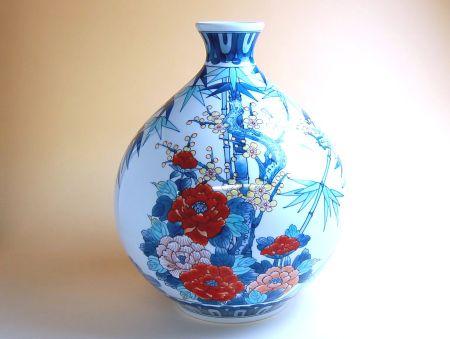 【有田焼】竹梅牡丹 徳利型花瓶【あす楽対応商品】(月~土)※13時までのご注文で翌日お届けが可能です
