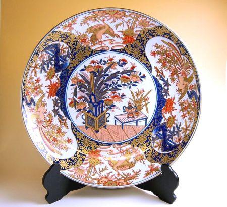 飾り皿 陶器 木箱入り 贈答用 有田焼 波佐見焼 金襴木甲 尺3寸皿(39cm)