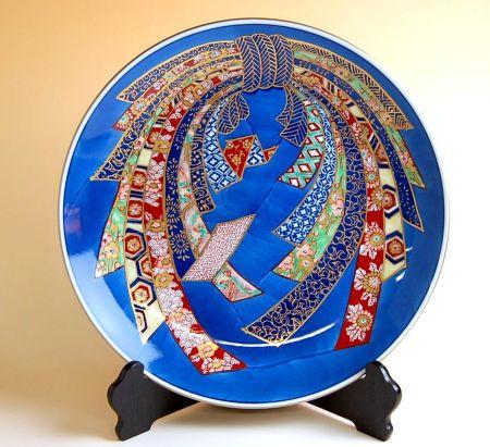 飾り皿 陶器 木箱入り 贈答用 有田焼 波佐見焼 金彩のし 尺3寸皿(39cm)