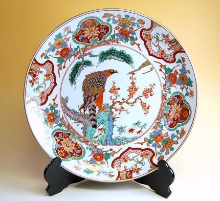 飾り皿 陶器 木箱入り 贈答用 有田焼 波佐見焼 鷹花園 尺5寸皿(45cm)