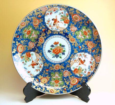飾り皿 陶器 木箱入り 贈答用 有田焼 波佐見焼 極彩木甲鶴 尺5寸皿(45cm)