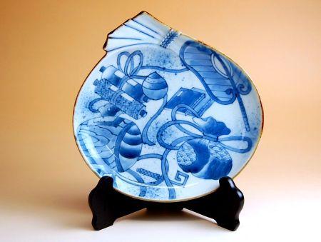 飾り皿 陶器 木箱入り 贈答用 有田焼 波佐見焼 古染宝尽紋 福袋皿