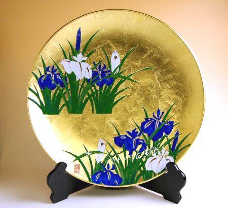 飾り皿 陶器 木箱入り 贈答用 有田焼 波佐見焼 金襴手(金箔)菖蒲 尺3寸皿(39cm)
