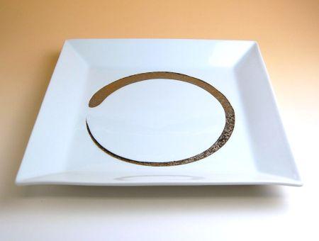 和食器 お皿 大皿 おしゃれ 有田焼 波佐見焼 白プラチナ刷毛 額縁尺皿