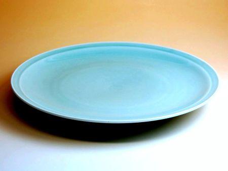 【有田焼・波佐見焼】青磁 13寸高台皿【あす楽対応商品】(月~土)※13時までのご注文で翌日お届けが可能です