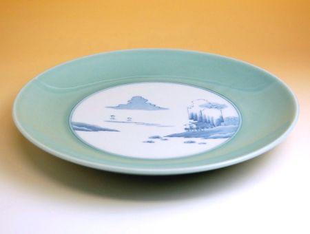 和食器 お皿 大皿 おしゃれ 有田焼 波佐見焼 青磁中山水 12寸平皿