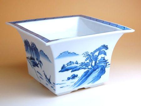 植木鉢 おしゃれ 陶器鉢 有田焼 波佐見焼 山水(大) 角型植木鉢