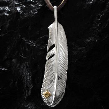アリゾナフリーダム シルバーアクセサリー ペンダント トップ 【NO.12】 ゴールド 小太陽神 フェザー トップ 素材: SV925 K18 【FeatherTop】