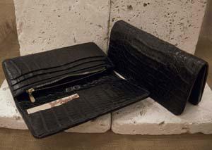 ARIZONA FREEDOM シルバーアクセサリー レザー 【NO.15】 ワニ革 ロング レザー ウォレット ( 黒 ) 素材: ワニ革 【LeatherWallet】