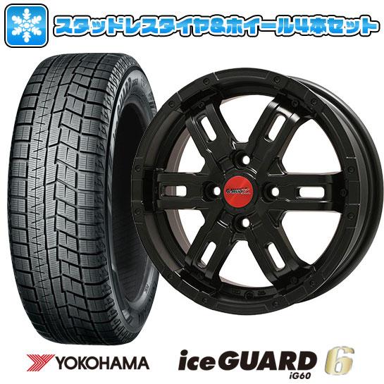 ?送料無料? スタッドレスタイヤ ホイール4本セット YOKOHAMA ヨコハマ アイスガード シックスIG60 165/55R14 14インチ BIGWAY B-MUD Z(マットブラック) 4.5J 4.50-14