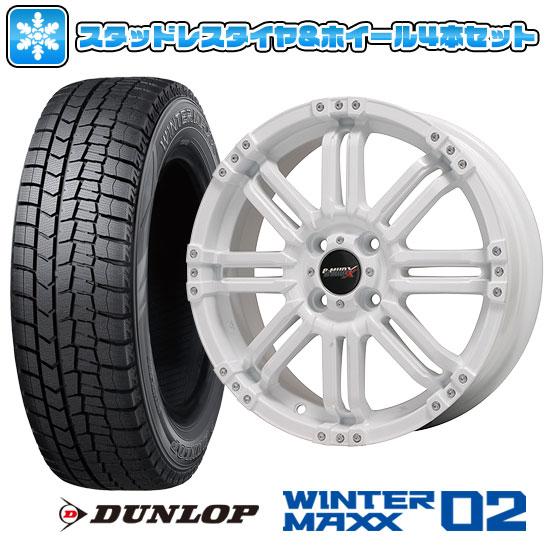 ?送料無料? スタッドレスタイヤ ホイール4本セット DUNLOP ダンロップ ウインターマックス 02 WM02 155/55R14 14インチ BIGWAY B-MUD X(ホワイト) 4.5J 4.50-14