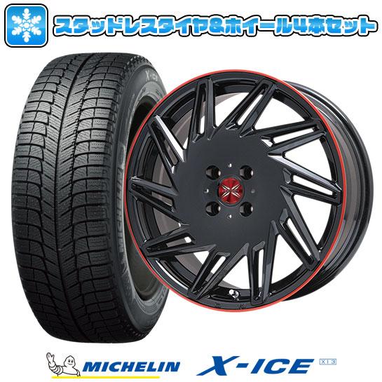 ?送料無料 4穴/100? スタッドレスタイヤ ホイール4本セット MICHELIN ミシュラン X-ICE XI3 195/55R16 16インチ PREMIX プレミックス バリック(パールブラック/レッドクリア) 6.5J 6.50-16