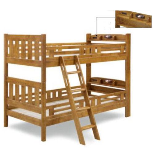 【送料無料】天然木2段ベッド上下連結金具付安心の70mm角柱/ライト・コンセント付き