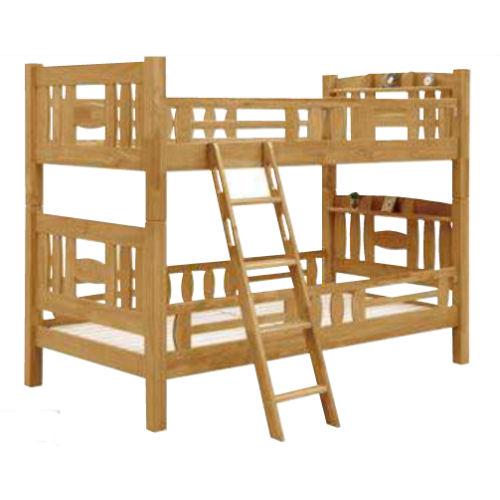 【送料無料】天然木ラバー材スノコ式床板上下連結金具付2段ベッド棚付き安心の70mm角柱