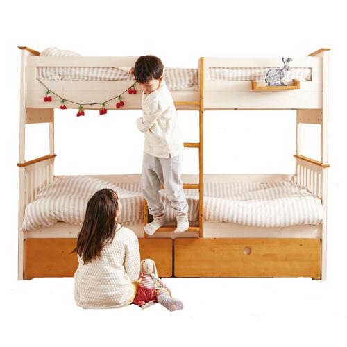 【送料無料】カントリースタイルを好む子が多いです安心設計でNEWデザインの二段ベット