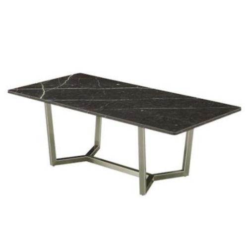 【送料無料】天板大理石/オイル仕上げ素敵なテーブルシンプルで脚はステンレスシルバーです