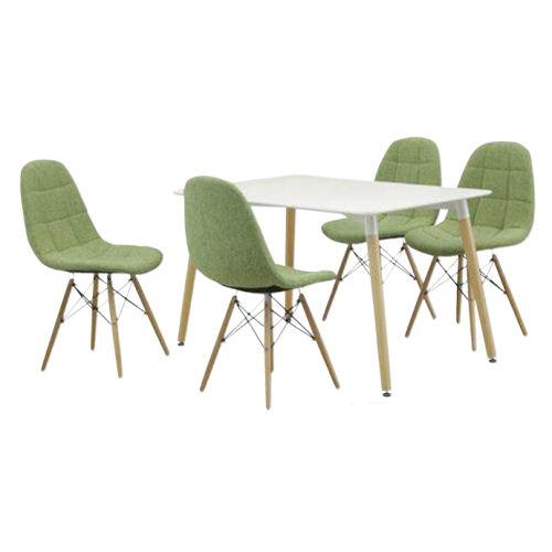 【送料無料】ニューデザインで白テーブルに5色のチェア座面は布張りで業務用にも最適です