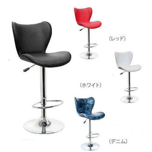 【送料無料】ガス圧昇降式、360度回転バーチェアー☆座り心地抜群・4色から選べます☆