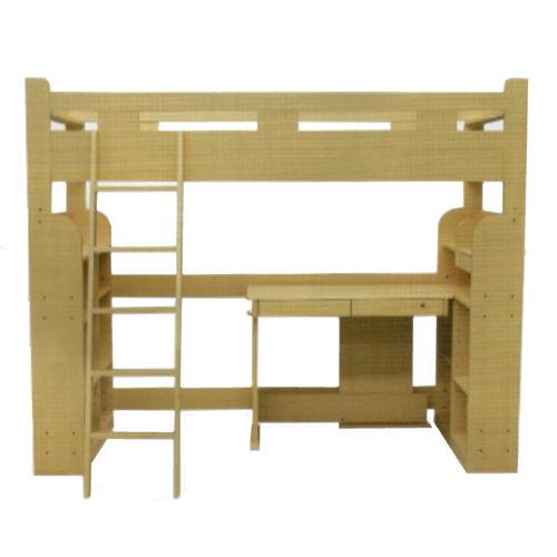 【送料無料】収納ラック付きロフトベッド【デスク付・棚付】分割してデスクと書棚連結可能