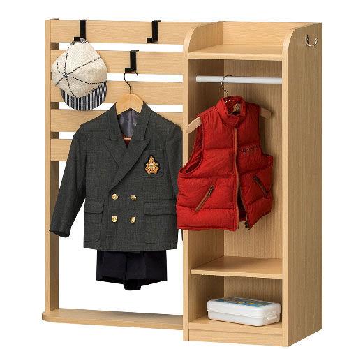 【送料無料】人気のランドキッズ・掛け替えられるフックでカバンや衣類を自由に収納みじたくラック