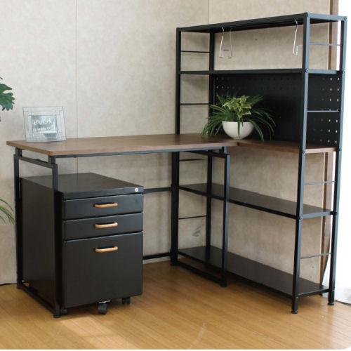 【interior送料無料】【interiorオフィス】シェルフ棚・ワゴン付デスク【koshin0601】