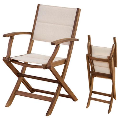 【送料無料】アカシア材使用・折り畳み式肘付き・ガーデンチェア