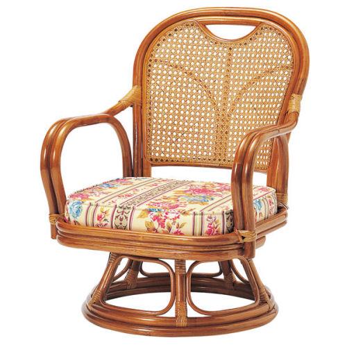 【送料無料】天然素材の優しい風合い手作りの温もりラタン/ロー回転椅子