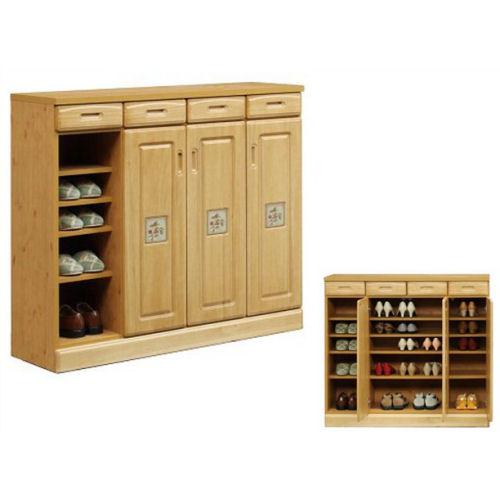 天然木桐材を使用した・人気のモダンシューズボックス開き扉に陶板をつけました・便利な引出し付