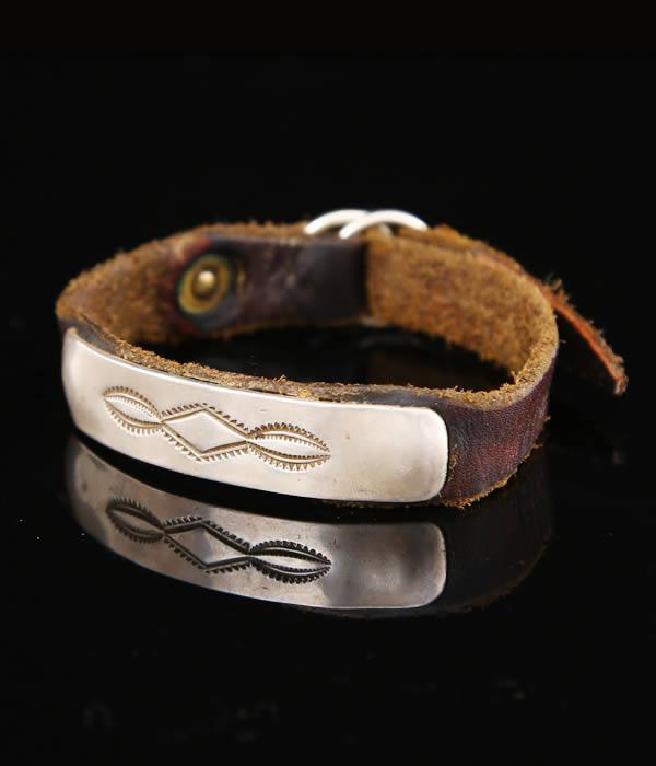 Native American Jewelry Native American jewelry and JACK WALKER BRACELET CONTEMPORARY (leather bracelet made of sterling silver) jw-br-c-1
