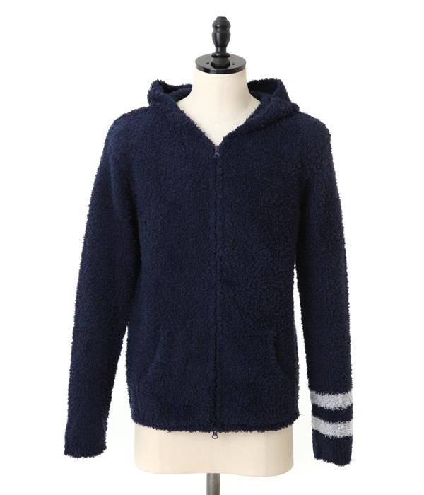 BAREFOOT DREAMS / ベアフット ドリームス : 【男性サイズ】mens zip hoodie with stripe : メンズ フーディ パーカー ストライプ : C594navy【PIE】【BJB】