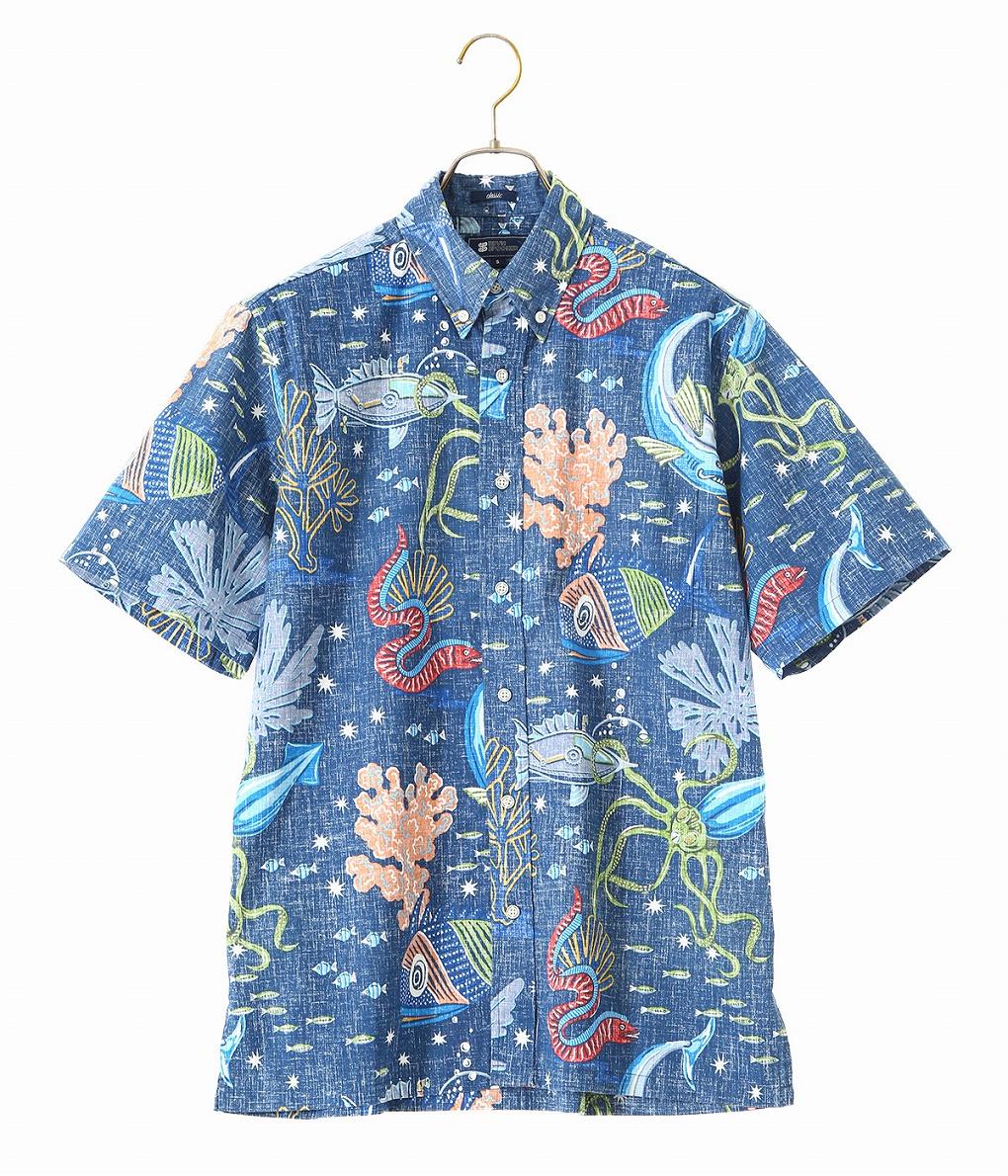 REYN SPOONER / レインスプーナー : Deep Sea Jive : レインスプーナー ボタンダウン 半袖 シャツ 柄シャツ アロハシャツ ハワイアンシャツ ハワイ メンズ : 0101-11-001【AST】