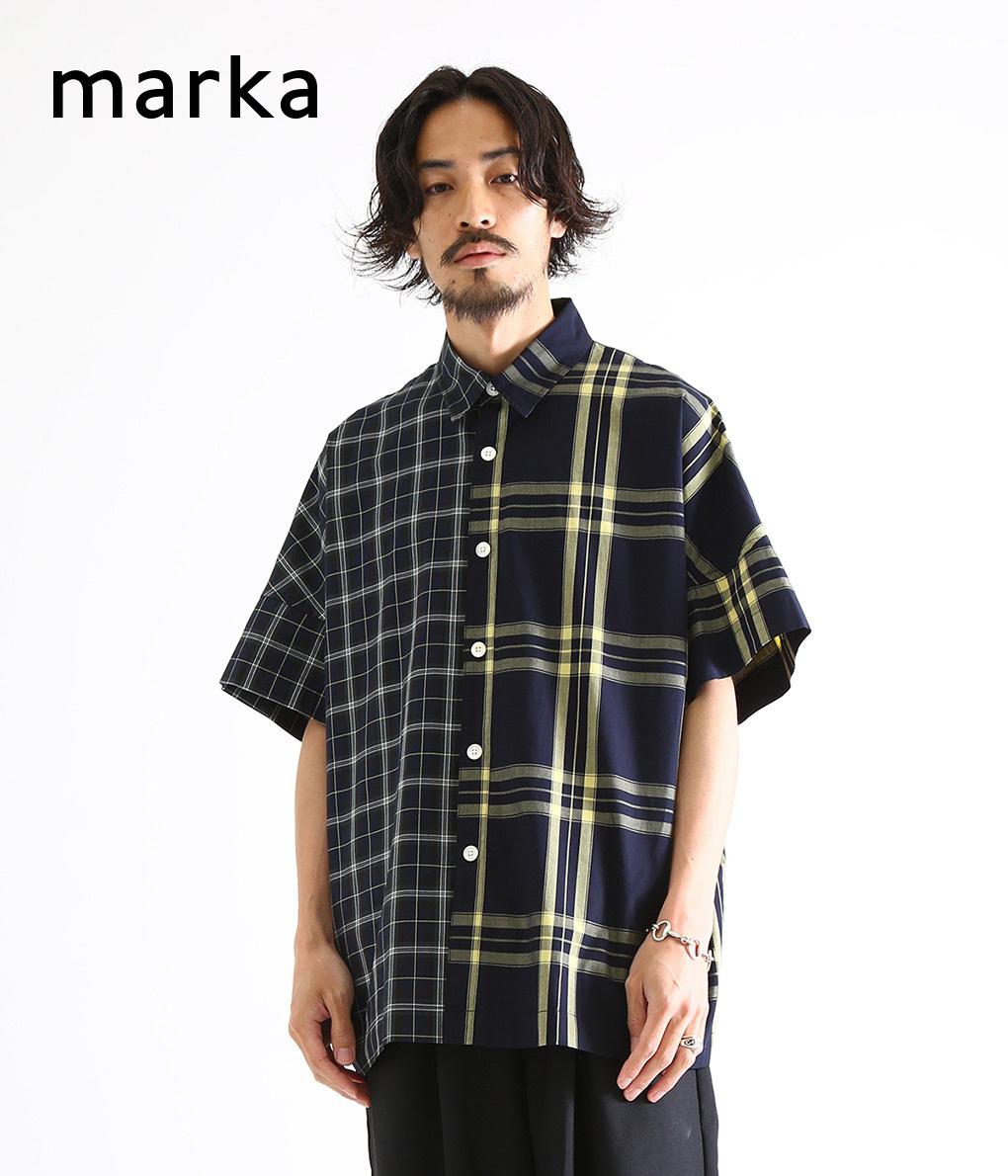 marka / マーカ : WIDE SHIRTS - check×check - : マーカ ワイドシャツ シャツ 半袖シャツ コットン チェック メンズ / 全2色 : M19B-02SH01B 【COR】【WIS】
