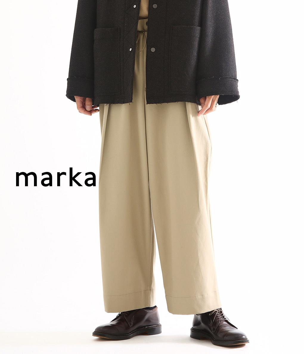 marka / マーカ : TUCK WIDE PANTS - co twill - / 全3色 : タックワイドパンツ ワイドパンツ ベルトパンツ コットンパンツ : M19C-19PT01C【COR】【WIS】