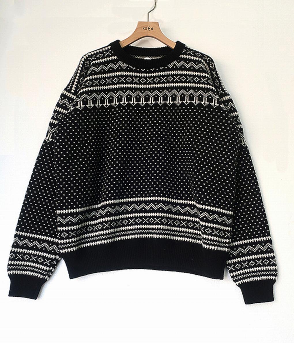 ?【予約商品 2020年9月~11月入荷予定】KAPTAIN SUNSHINE / キャプテンサンシャイン : Snowy Patterned Sweater : スノーリー パターン セーター キャプテンサンシャイン メンズ : KS20FKN01【NOA】