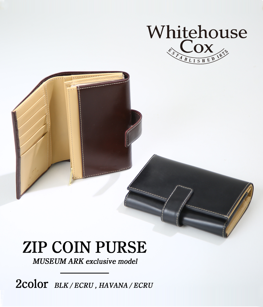 Whitehouse Cox / ホワイトハウスコックス : 別注ZIP COIN PURSE WITH TAB/ 全2色 : ジップ コイン パース 財布 リミテッド 限定 : S9696-ARK【MUS】