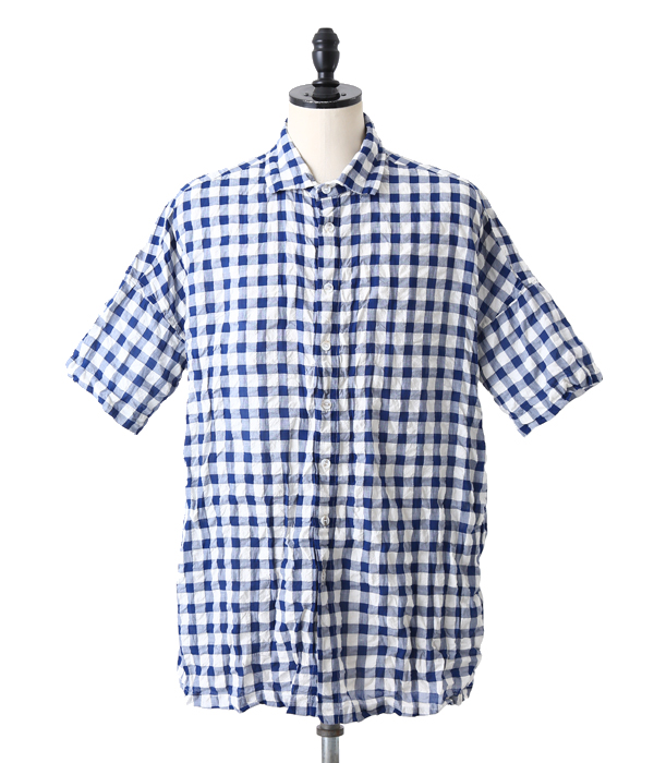 CASEY CASEY(凯西凯西)/GING SHORT SLEEVE SHIRT(短袖衬衫条纹布检查)08HC73
