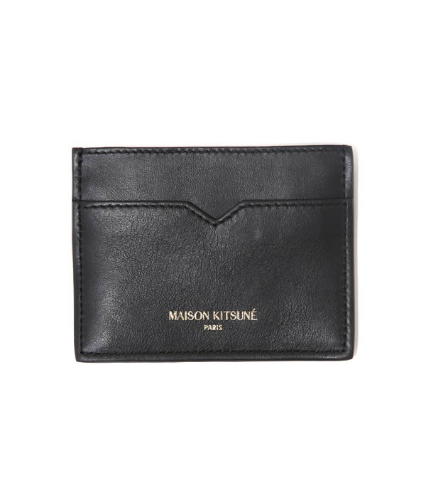 MAISON KITSUNE / CARD HOLDER LEATHER (meson Kitsune Maison Fox Fox card holder-leather card case) KUZ8600-BLK (SS16U807)
