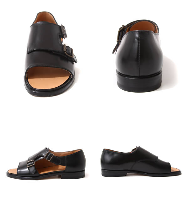 F.lli Giacometti (furaterri Giacometti) / W monk Sandals-Vit/Nero-(monk Sandals leather shoes shoes) FG330-NERO