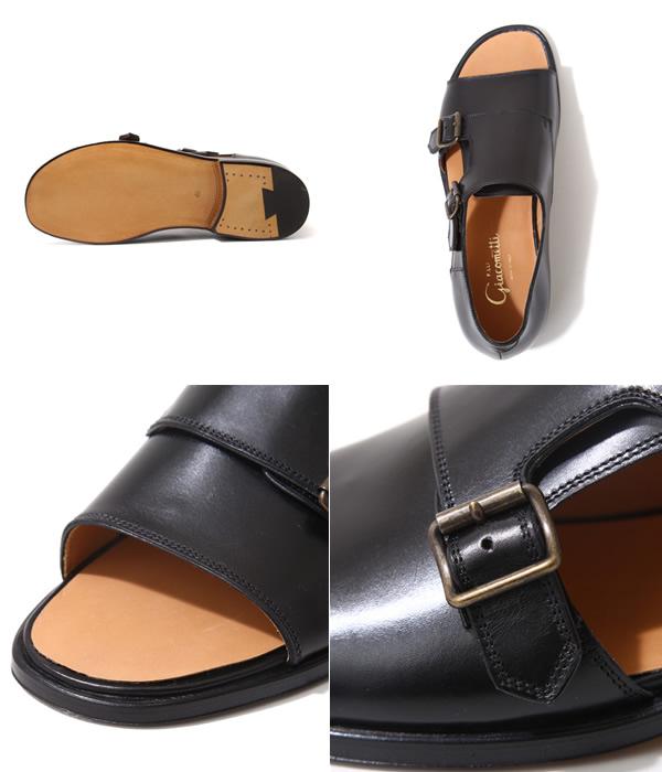 F.lli Giacometti (furaterri Giacometti) / W monk Sandals-Vit/Nero-(monk Sandals leather shoes shoes) FG330-NERO