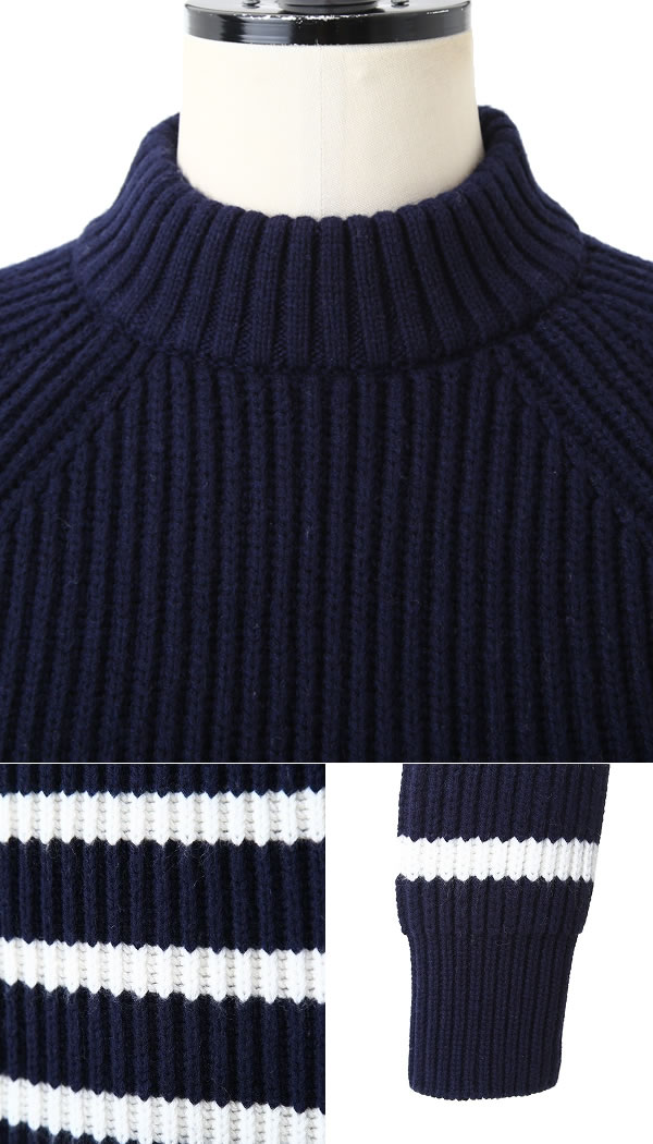 Arknets Mock Neck Marine X Latte Lutrova Knit Wool Sweater