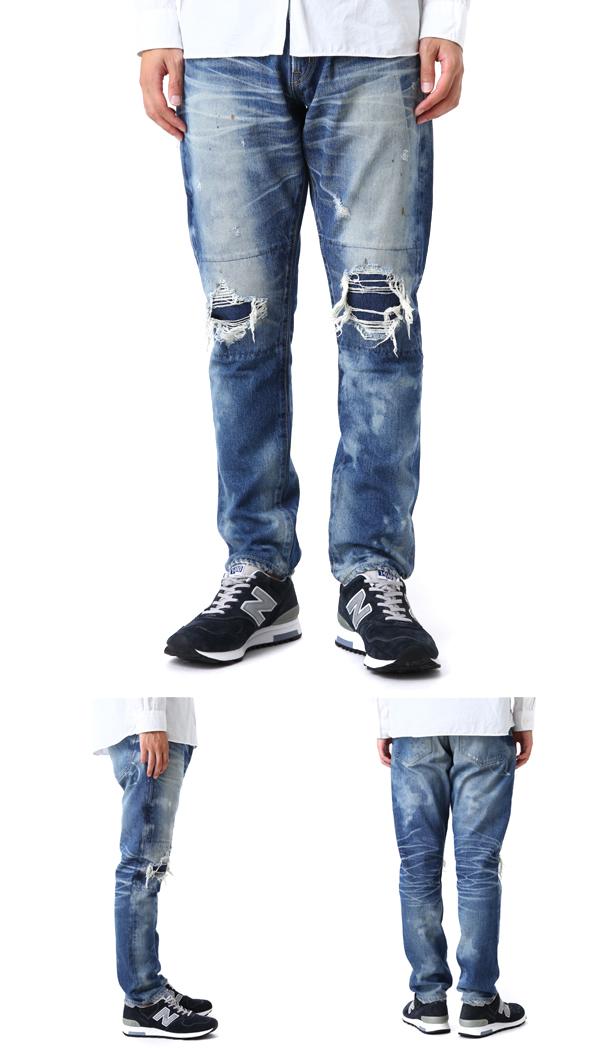 DENIM BY VANQUISH & FRAGMENT [데님 바이 멋져 조각]/damage five years wash tapered pants denim (데님 데님 팬츠 팬츠 데미지 데님 테이퍼 드 팬츠) VFP4018
