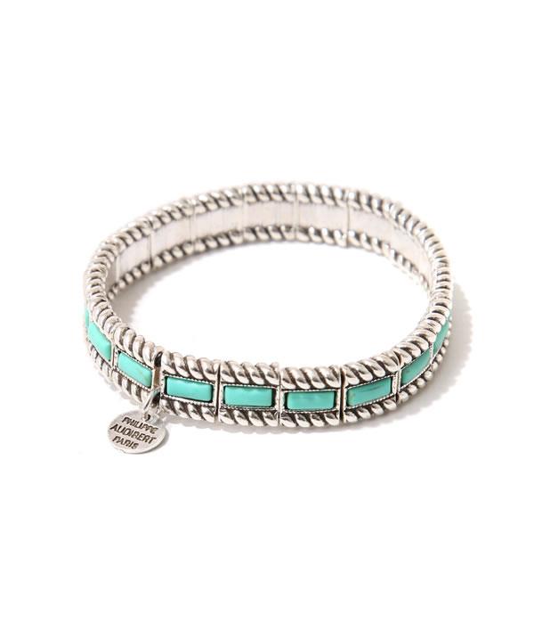 PHILIPPE AUDIBERT [필립 오 디 베일] / Jeff bracelet turquise stones-silver/turquise blue- (제후브레스렛트타코이즈스토퓨타시르바) BR1419