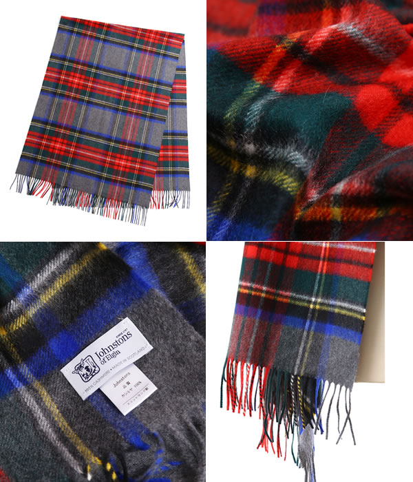 Johnstons [johnstons of Elgin, and CASHMERE TARTAN STOLES 190×70-GREY STEWART-(another Japan note color johnstons of Elgin 2016 scarf stole shawls cashmere large ladies check) WA000056-VU6124-GRY