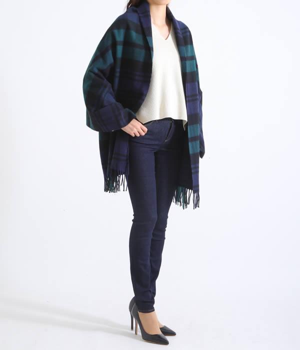 Traditional Weather Wear / トラディショナルウェザーウェア : BLANKET MUFFLER-BLACK WATCH- : ブランケット マフラー ストール グリーンチェック 大判 : A172JGGO0022-TT01【ANN】