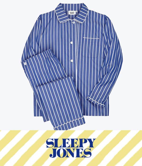 SLEEPY JONES / スリーピージョーンズ : 【レディース】Bishop Pajama Set-Tie Stripe Blue & White : スリーピージョーンズ パジャマ パンツ ルームウェア ストライプ 18SS 18春夏 レディース : SS18-WS006-F1031-403【DEA】