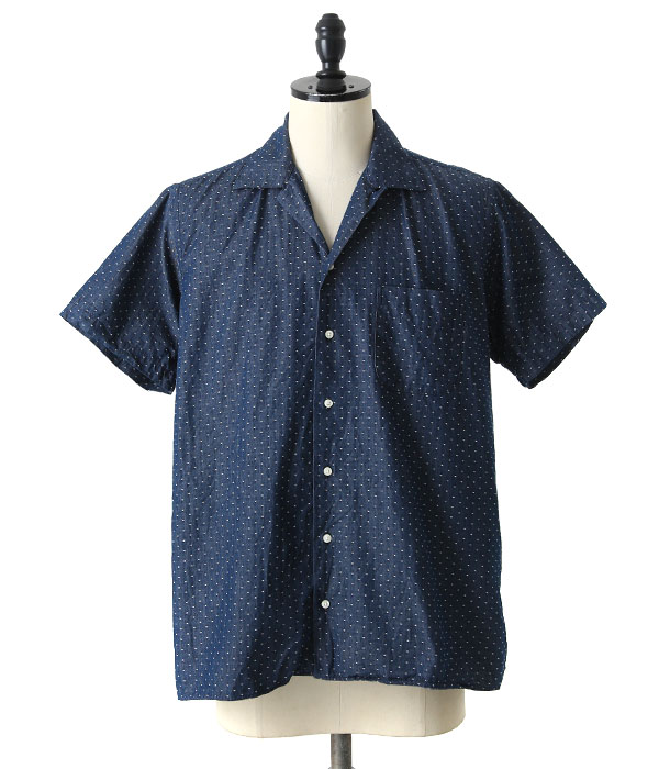 INDIVIDUALIZED SHIRTS / インディビジュアライズドシャツ : 別注キャンプカラー -DOTNAV- : キャンプカラー シャツ 半袖 メンズ : C34NBJ-K【MUS】