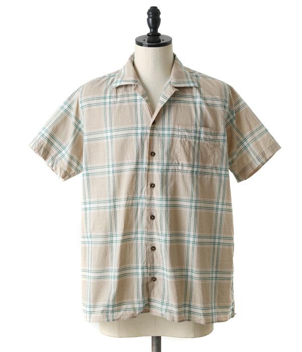 INDIVIDUALIZED SHIRTS / インディビジュアライズドシャツ : 別注キャンプカラー -CHKGRN- : キャンプカラー シャツ 半袖 メンズ : K61ABP-L【MUS】